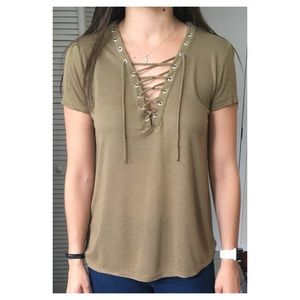 Forever 21 Olive Top with Cross Cross Detail